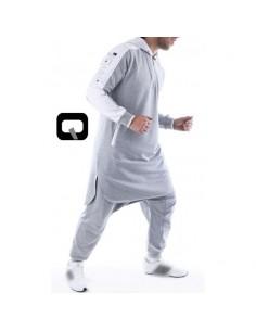 Qamis Qaba'il jogging court gris clair