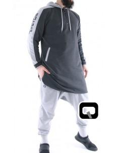 Qamis Qaba'il jogging court gris anthracite