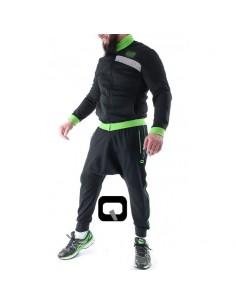 Sarouel Qaba'il Noir bandes vert fluo