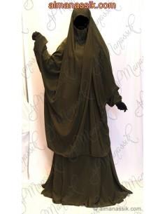 Jilbab 2 pièces al manassik vert militaire