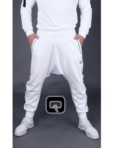 Saroual qaba'il blanc bande bleu