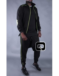 ensemble jogging qaba'il noir bandes jaune