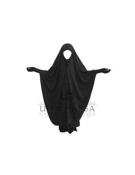 Jilbab 2 pièces à clips Noir - Umm Hafsa