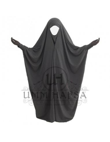 Jilbab saoudien à clips Gris - Umm Hafsa