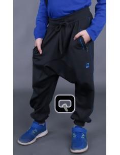 Sarouel Qaba'il lift enfant noir bande bleu