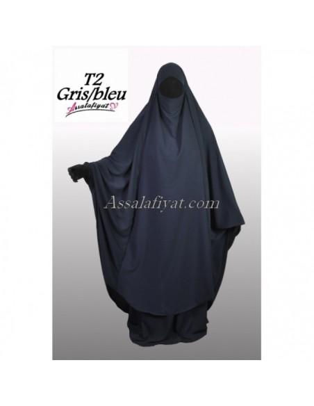 Jilbab 2 pièces Assalafiyat Gris/ Bleu