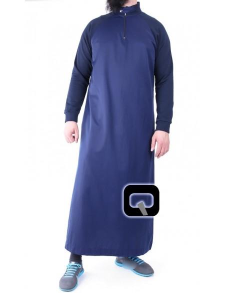 Qamis Qaba'il long manches jogging bleu