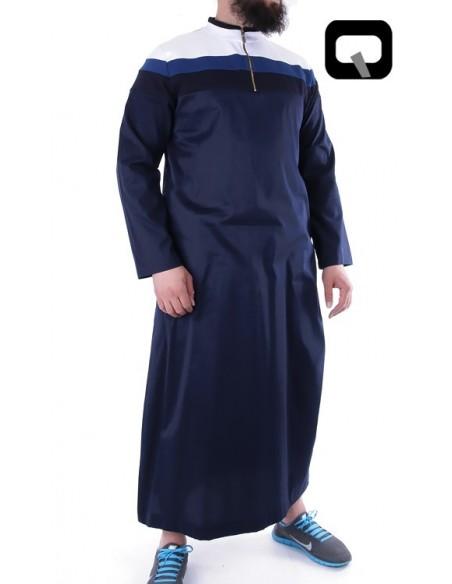 Qamis Qaba'il long 3 couleurs Bleu
