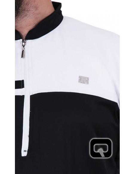 Qamis Qaba'il long classique noir et blanc