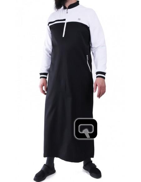 Qamis Qaba'il classique noir et gris clair