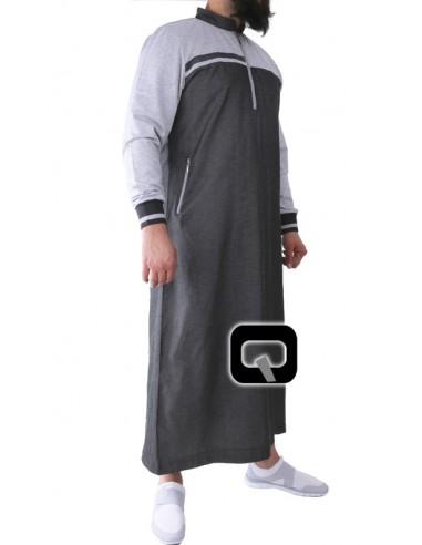 Qamis Qaba'il long classique gris foncé et gris clair