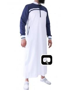 Qamis Qaba'il long classique blanc et bleu nuit