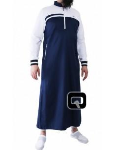 Qamis Qaba'il long classique bleu et blanc