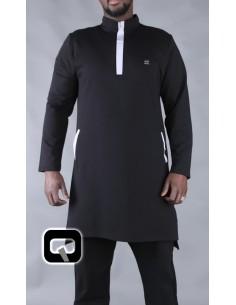 Qamis Qaba'il court klaps Noir