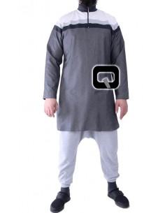 Qamis Qaba'il court 3 couleurs gris anthracite
