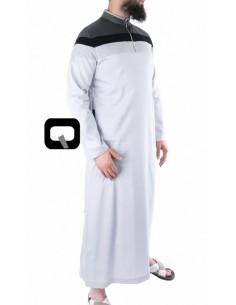Qamis Qaba'il long 3 couleurs gris clair