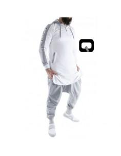 Qamis Qaba'il jogging court blanc et gris