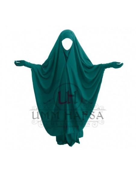 Jilbab 2 pièces Umm Hafsa à clips Vert Canard