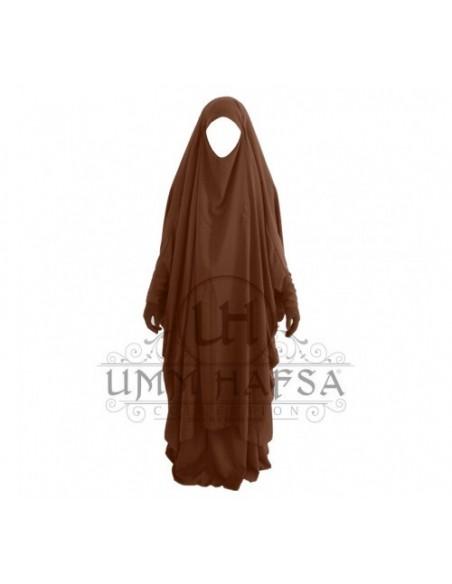 Jilbab Umm Hafsa 2 pièces à clips Cannelle