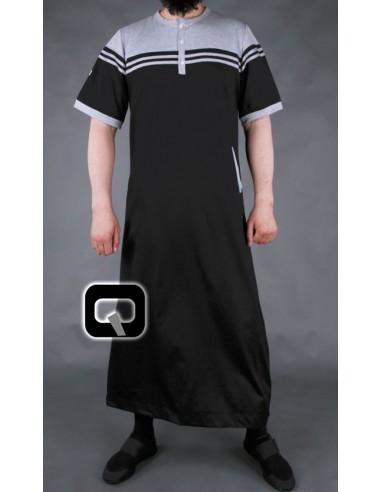 Qamis Qaba'il manches courtes noir et gris