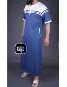 Qamis Qaba'il manches courtes bleu et blanc