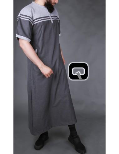 Qamis Qaba'il manches courtes gris et anthracite