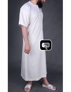 Qamis Qaba'il manches courtes écru et blanc