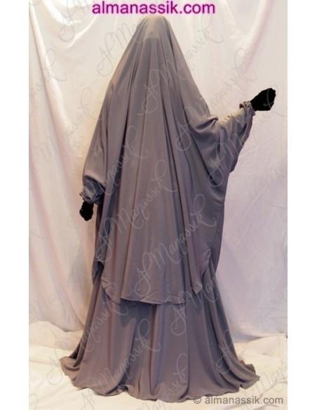 Jilbab Al Manassik gris galet