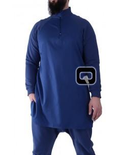 Qamis court qaba'il bleu indigo