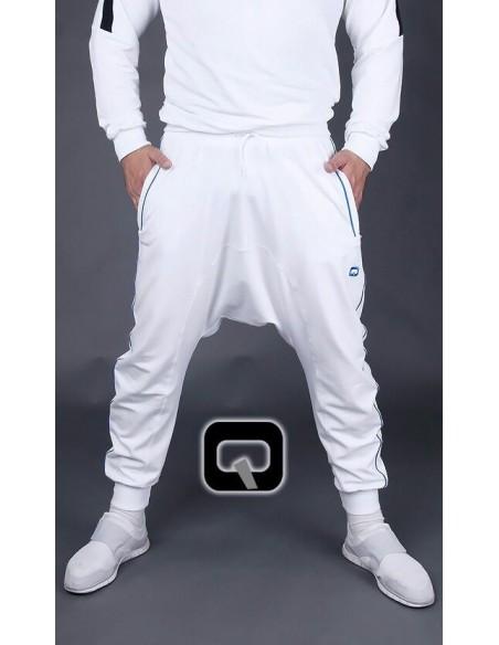 Sarouel qaba'il blanc bande bleu