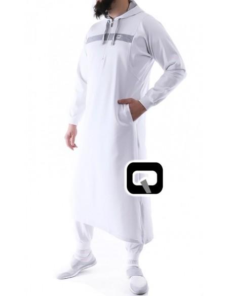 Qamis Jogging Qaba'il Vortex - Blanc et Gris