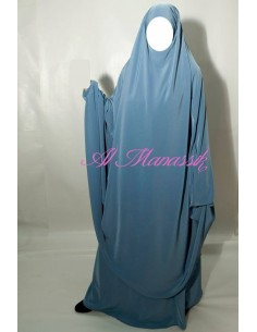 jilbab 2 pièces jupe al manassik bleu pétrole