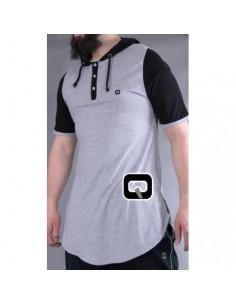tee shirt qaba'il gris clair manches courtes avec capuche