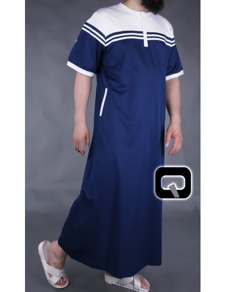 Qamis manches courtes bleu marine et blanc