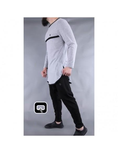 Tee shirt qaba'il manches longues gris clair