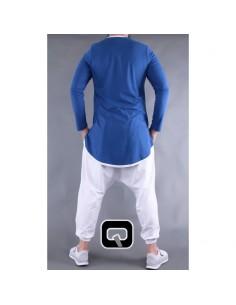 Tee shirt qaba'il manches longues bleu indigo
