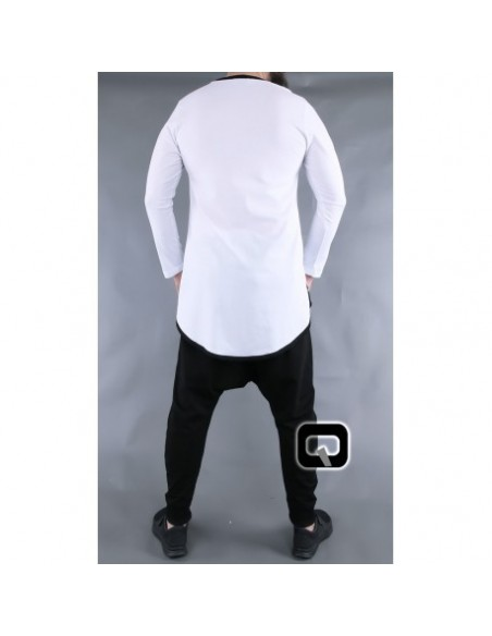 Tee shirt qaba'il manches longues blanc et noir