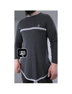 Tee shirt qaba'il manches longues gris foncé