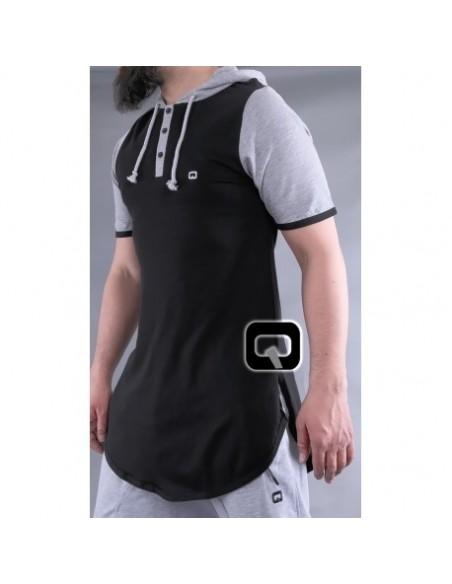 tee shirt qaba'il noir manches courtes avec capuche