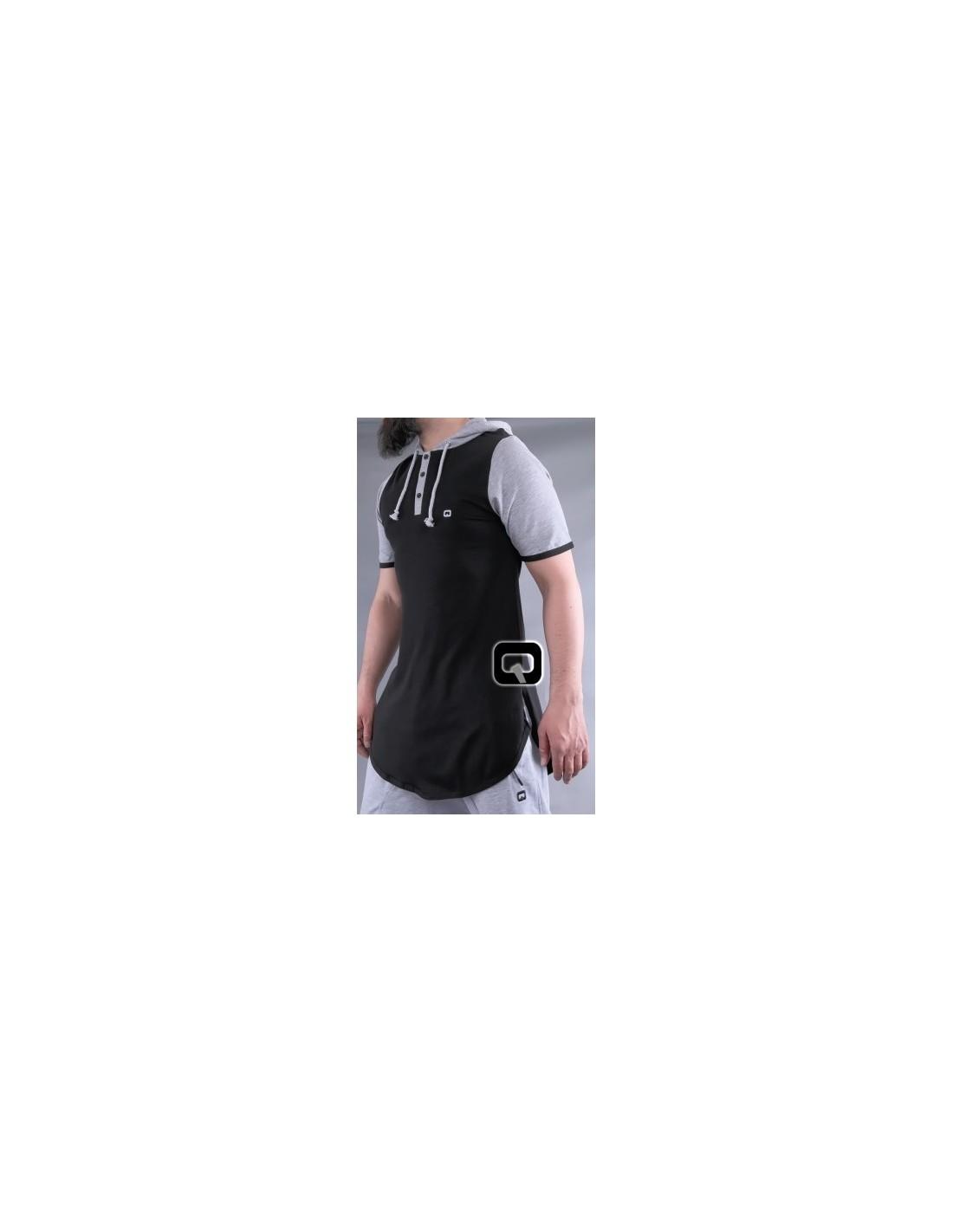 tee shirt qaba 39 il noir manches courtes avec capuche. Black Bedroom Furniture Sets. Home Design Ideas