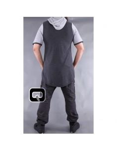 tee shirt qaba'il gris anthracite manches courtes avec capuche