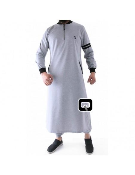 Qamis jogging qaba'il raodster gris clair