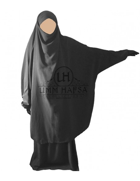 Jilbab Umm Hafssa 2 Pièces Classique Gris