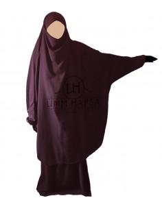 Jilbab Umm Hafsa 2 Pièces Classique Prune