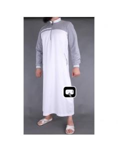 Qamis Qaba'il Long Blanc Et Gris