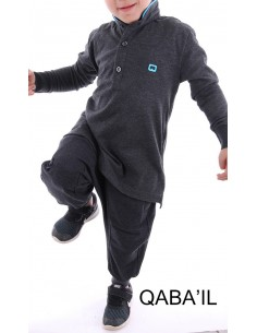 Polo Qaba'il Enfant Gris Foncé