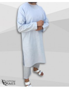 Custom qamis imad gris clair