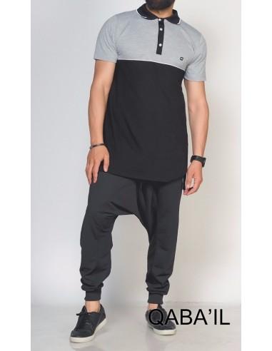 Polo Bi Color Noir et Gris -Qaba'il