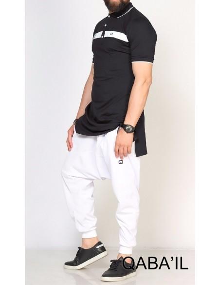 Polo Bi Color Noir - Qabail