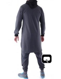 Qamis Qaba'il Court Versus Noir et Gris